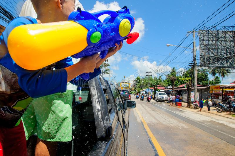 Koh Samui, Thailand - April 13, 2018: Songkran Party - the Thai New Year Festival. People celebrating together stock photos