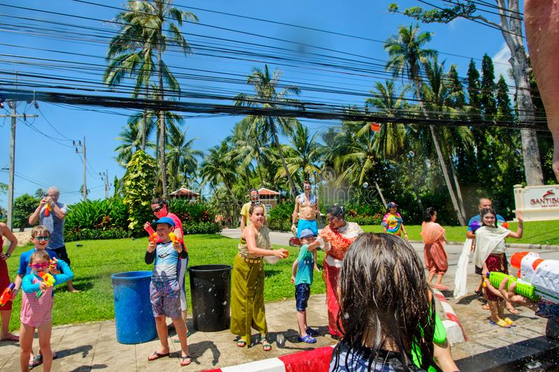 Koh Samui, Thailand - April 13, 2018: Songkran Party - the Thai New Year Festival. People celebrating together stock image
