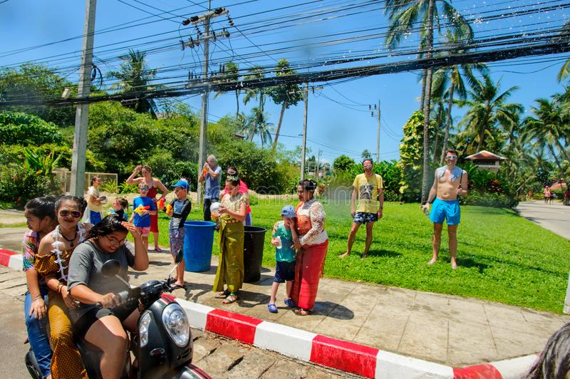 Koh Samui, Thailand - April 13, 2018: Songkran Party - the Thai New Year Festival. People celebrating together royalty free stock photo