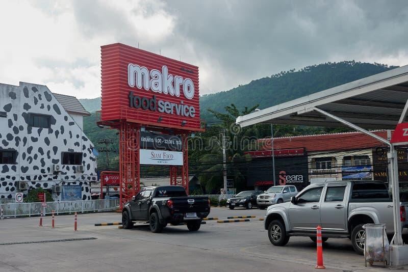 KOH SAMUI, THAILAND - December 15, 2017: Makro kontantköp Matservice fotografering för bildbyråer