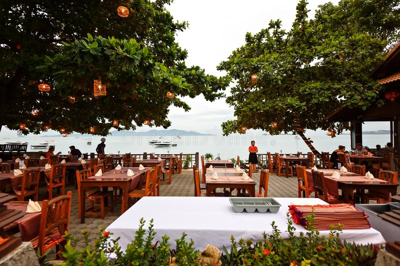 KOH SAMUI, Thailand, July 2017. Restaurant on the beach with a view of the sea.  stock image