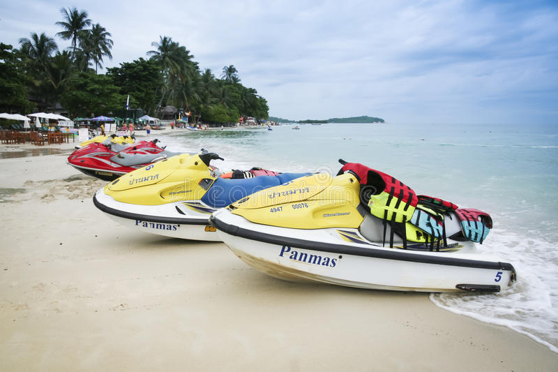 Jet skis koh samui beach thailand. KOH SAMUI, THAILAND - OCTOBER 30: jet skis for hire parked slong the shore of chaweng beach on October 30, 2007 in Koh Samui stock photos