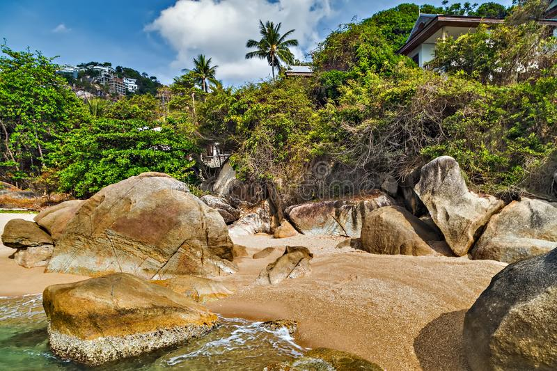 Koh Samui, Thailand. tropical beach landscape. Koh Samui, Thailand. Tropical rock beach and sea summer nature landscape Paradise island royalty free stock images