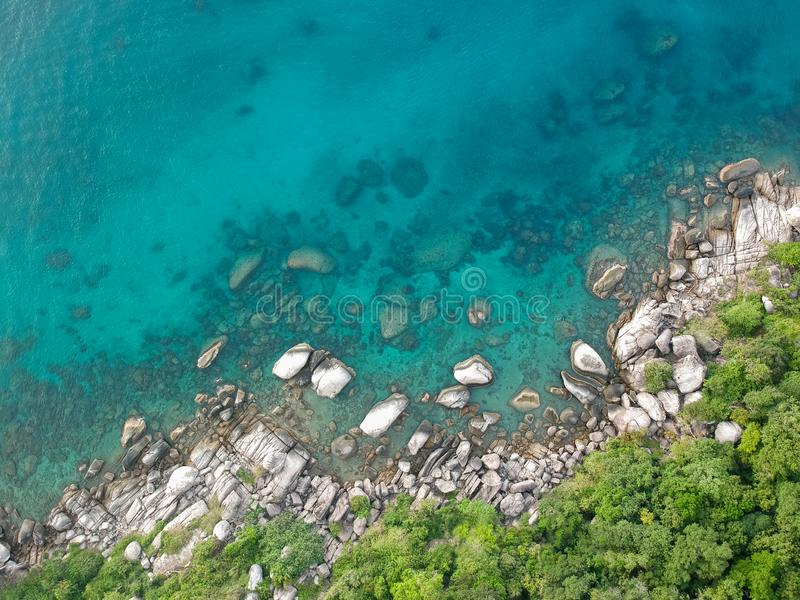 Koh Tao Shore. Crystal clear water on the shore of Koh Tao island, Thailand stock image