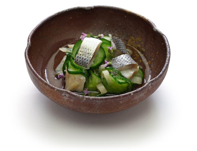 Kohada Sunomono manchou o prato vinegared sardinha, culin?ria japonesa imagens de stock