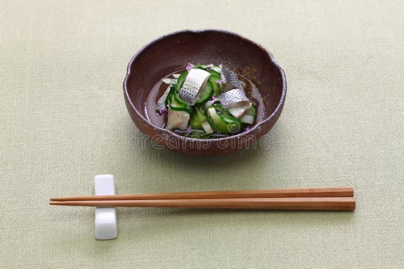 Kohada Sunomono manchou o prato vinegared sardinha, culin?ria japonesa fotografia de stock