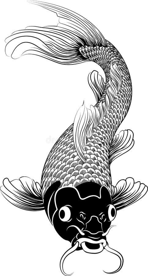 Kohaku koi Karpfen-Fischabbildung lizenzfreie abbildung