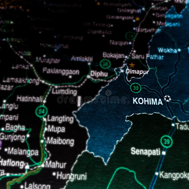 Kohima city name displayed on geographic map in India. Myanmar royalty free stock photo