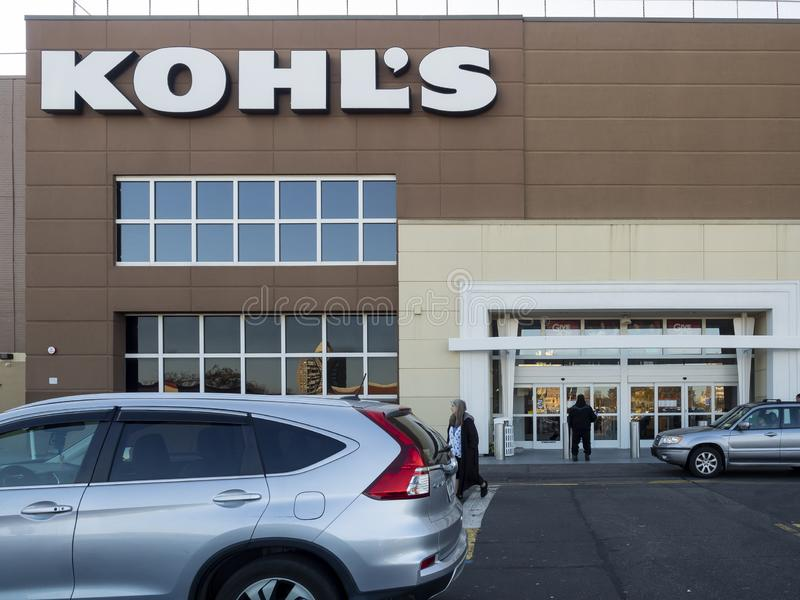 Kohl`s exterior. New York, NY - November 11, 2018: Exterior of Kohl`s Department Store - one of the largest American retailing chain founded in 1962. More then stock image