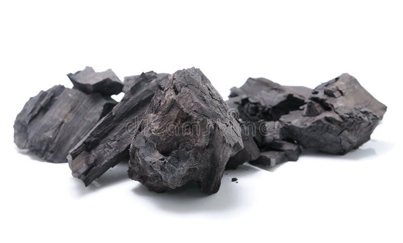 Kohle auf weißem Hintergrund stockbilder