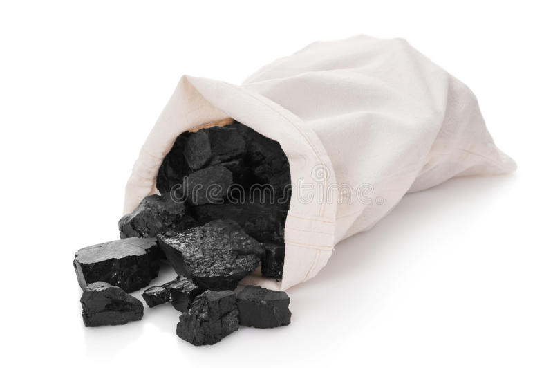Kohle in einem Beutel lizenzfreies stockbild