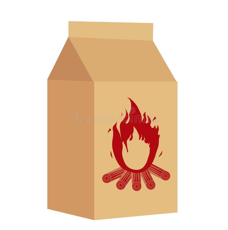 Kohle im Paket für BBQ-Ikone, flache Art Getrennt auf weißem Hintergrund Auch im corel abgehobenen Betrag vektor abbildung