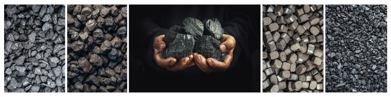 Kohle, Schwerindustrie, Heizung, Bodenschätze stockbild
