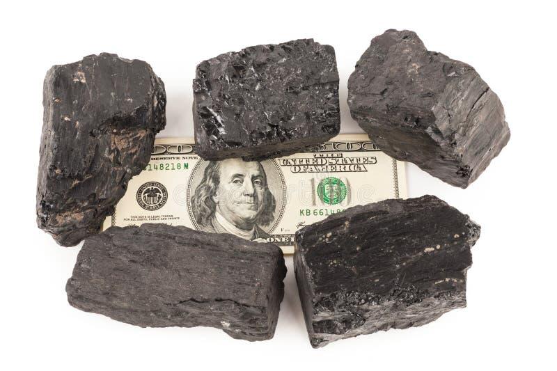 Kohle und Geld lizenzfreies stockfoto