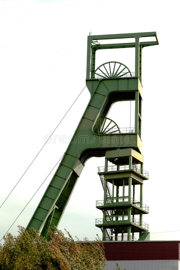 Kohlengrube-Kopfbedeckungkontrollturm stockfoto