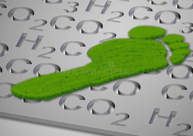 Kohlenstoffabdruck im Gras lizenzfreie abbildung