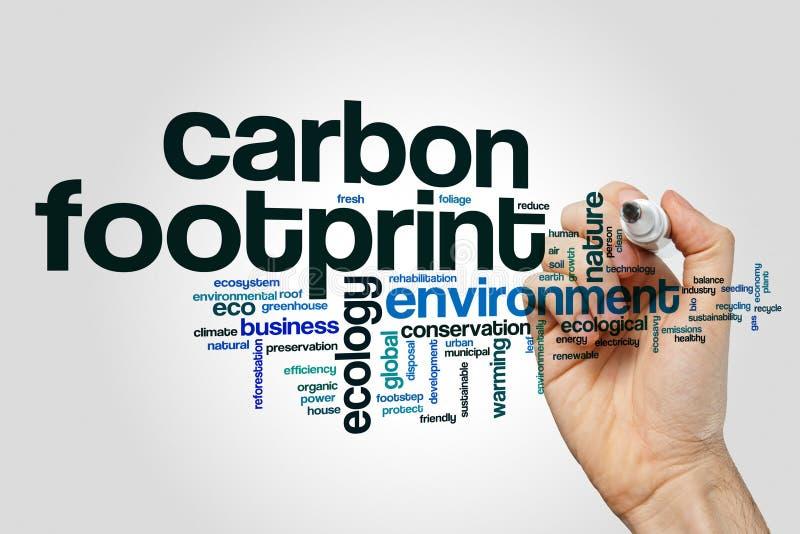 Kohlenstoffabdruckwort-Wolkenkonzept auf grauem Hintergrund lizenzfreie stockbilder