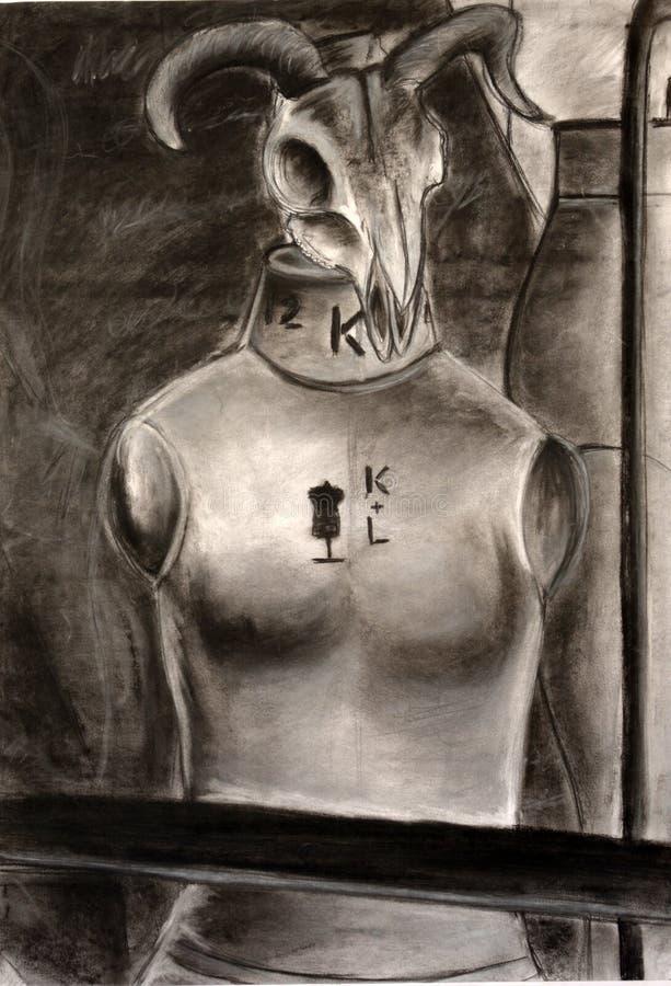 Kohlezeichnung eines auf einem Mannequin platzierten Rammschädels stockbild