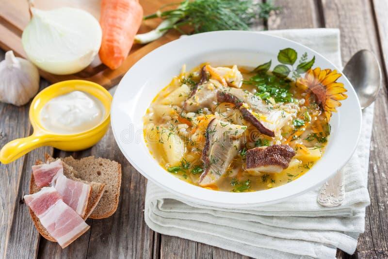 Kohlsuppe mit Pilzen und Perlgerste Russische/slowakische Küche stockfotos