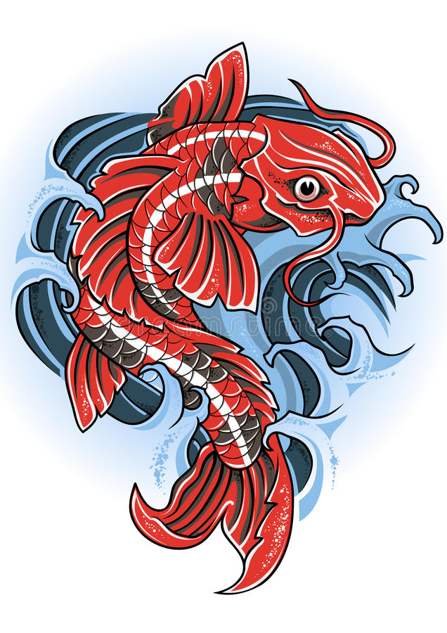 Koi illustration de vecteur illustration du antique for Carpe koi bleu