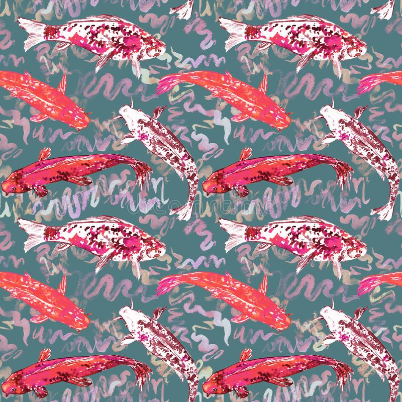 Koi carp collection swimming in pond with blue waves, hand painted watercolor illustration, seamless pattern design on soft green. Background, top view royalty free illustration