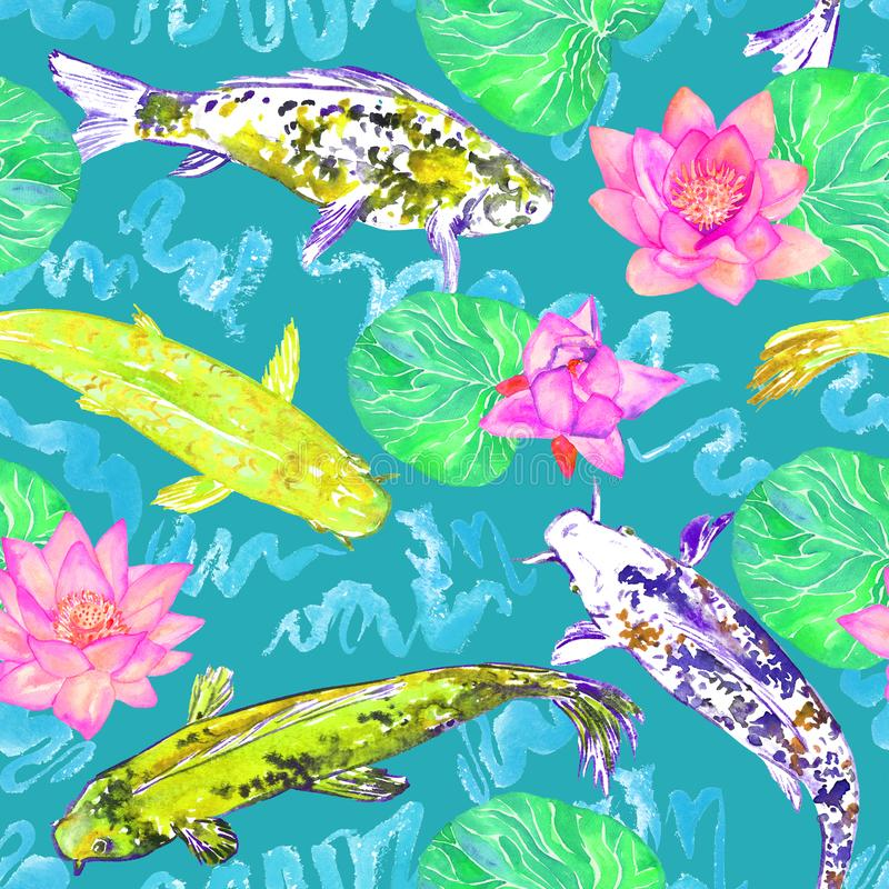 Koi carp collection swimming in pond with blue waves with pink lotus flowers, on turquoise background, top view vector illustration