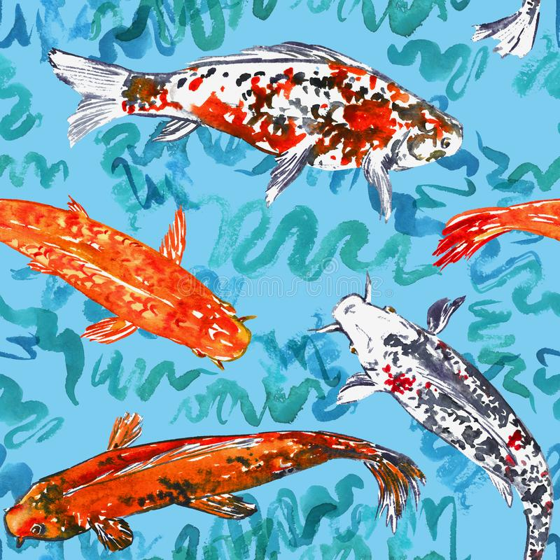 Koi carp collection swimming in pond with turquoise waves, hand painted watercolor illustration, seamless pattern design on blue. Background, top view vector illustration