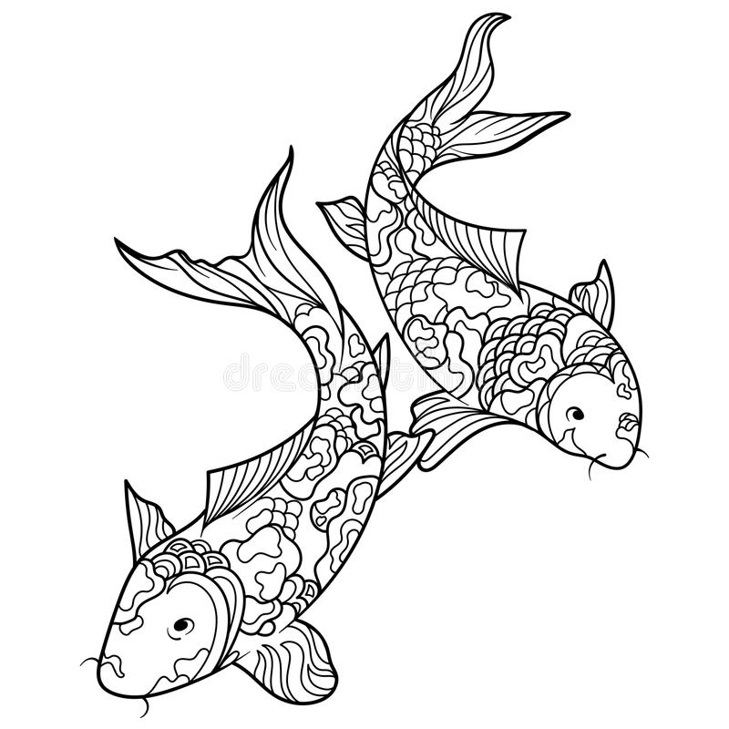 Koi Carp Fish Coloring Book For Adults Vector Stock Vector ...