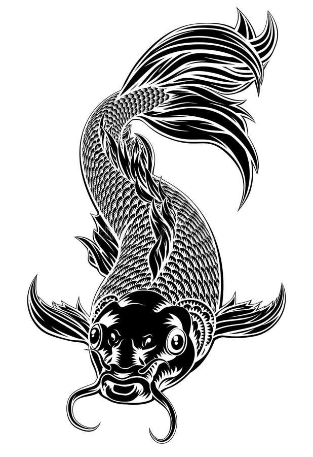 Koi Carp Fish Woodcut Style lizenzfreie abbildung