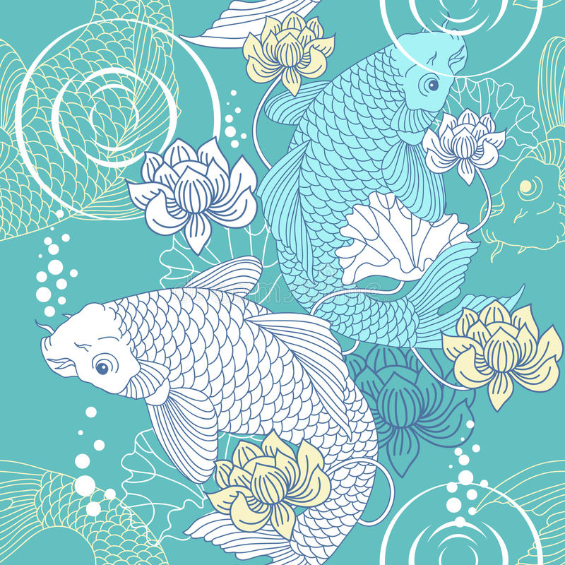 Koi carp seamless pattern vector illustration