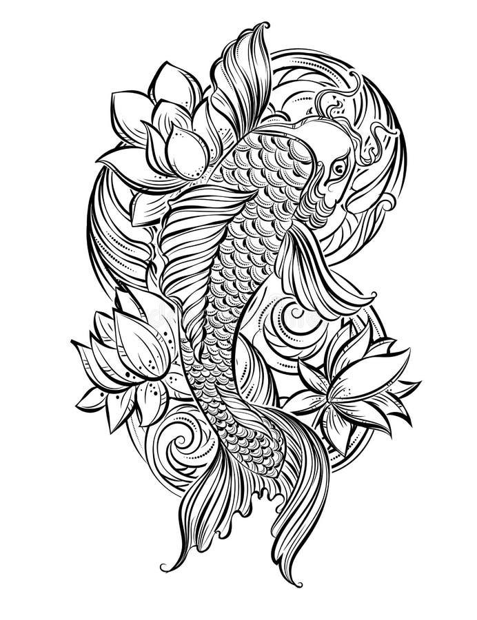 Koi Carp Tatoo 1 Stock Illustration Illustration Of Ornament 71144923