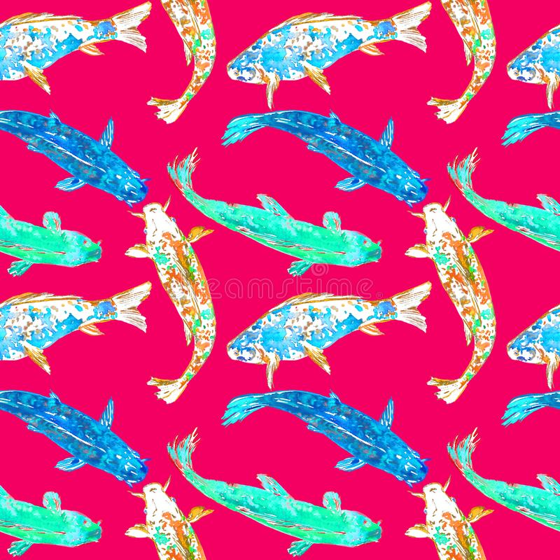 Koi carps in blue, turquoise and yellow colors palette, hand painted watercolor illustration, seamless pattern design on red. Background royalty free illustration