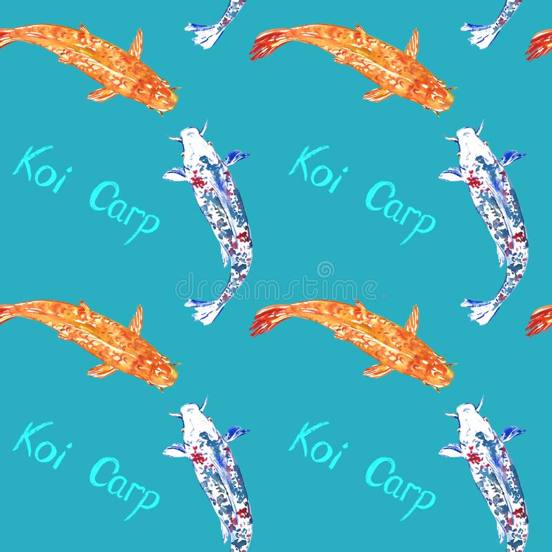 Koi carps, hand painted watercolor illustration with handwritten inscription, seamless pattern design on blue. Background royalty free illustration