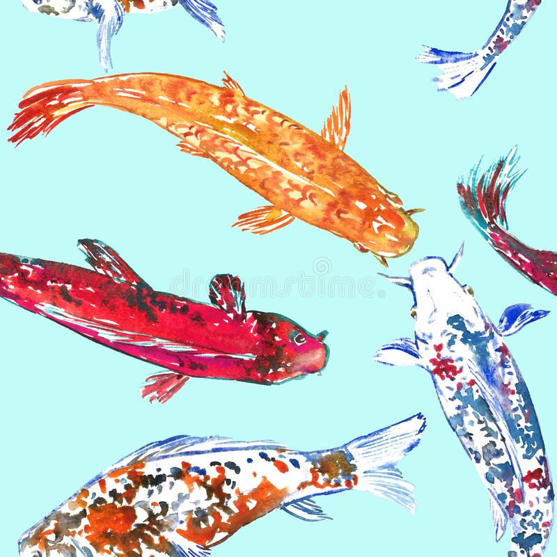 Koi carps, hand painted watercolor illustration, seamless pattern design on blue. Background stock illustration