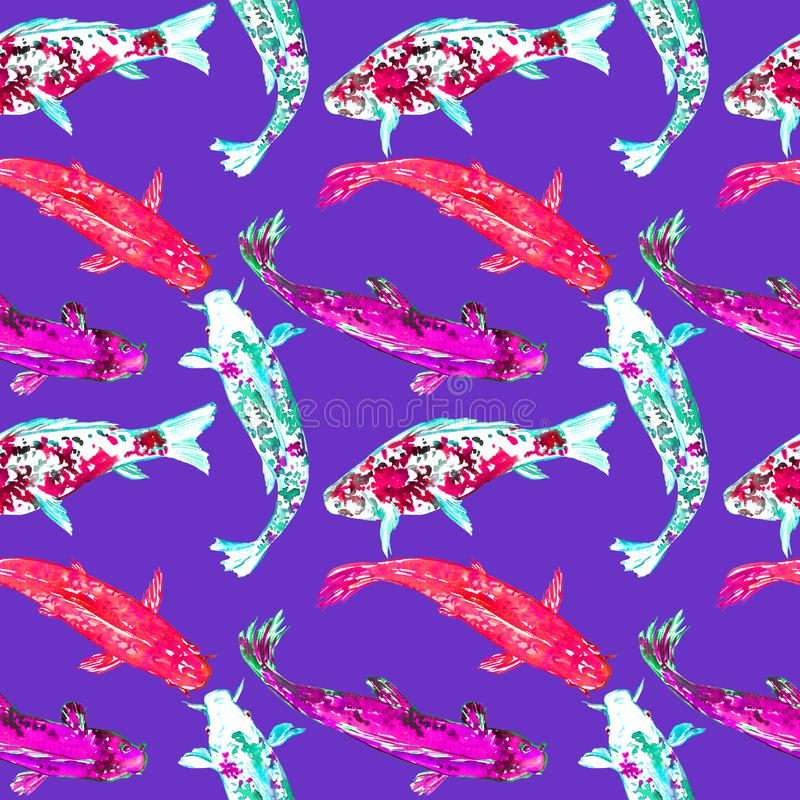 Koi carps, hand painted watercolor illustration, seamless pattern design on blue purple. Koi carps, hand painted watercolor illustration, seamless pattern design vector illustration
