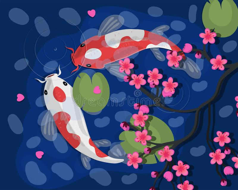 Koi carps Illustration f?r Koi japansk fiskvektor kinesisk guldfisk Koi symbol av rikedom royaltyfri illustrationer