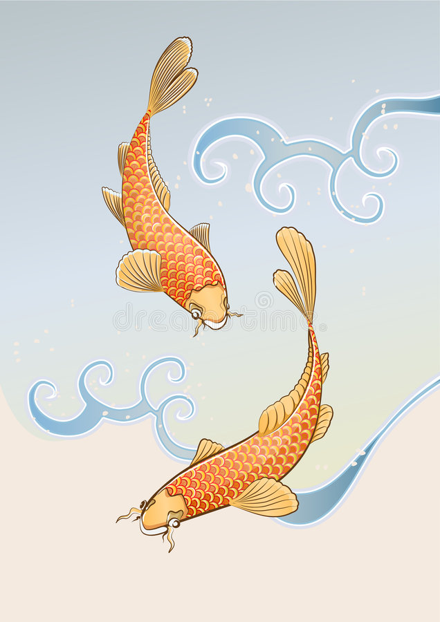 Koi dwa karpia ilustracji