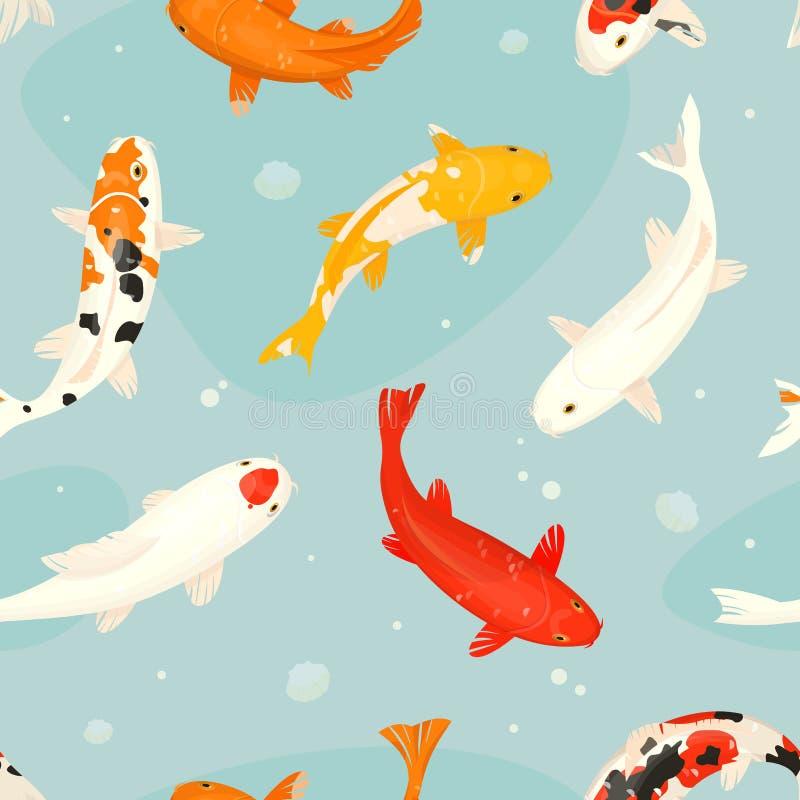 Koi-Fische vector japanischen Karpfen der Illustration und buntes orientalisches koi in Asien-Satz des chinesischen Goldfisches u vektor abbildung