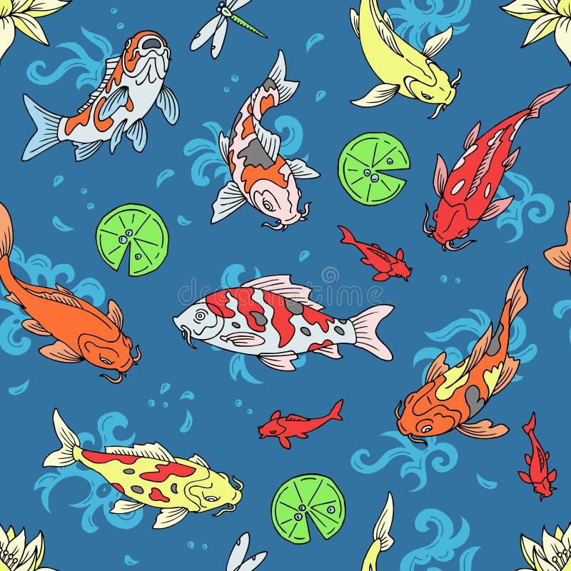 Koi-Fische vector japanischen Karpfen der Illustration und buntes orientalisches koi in Asien-Satz des chinesischen Goldfisches u lizenzfreie abbildung