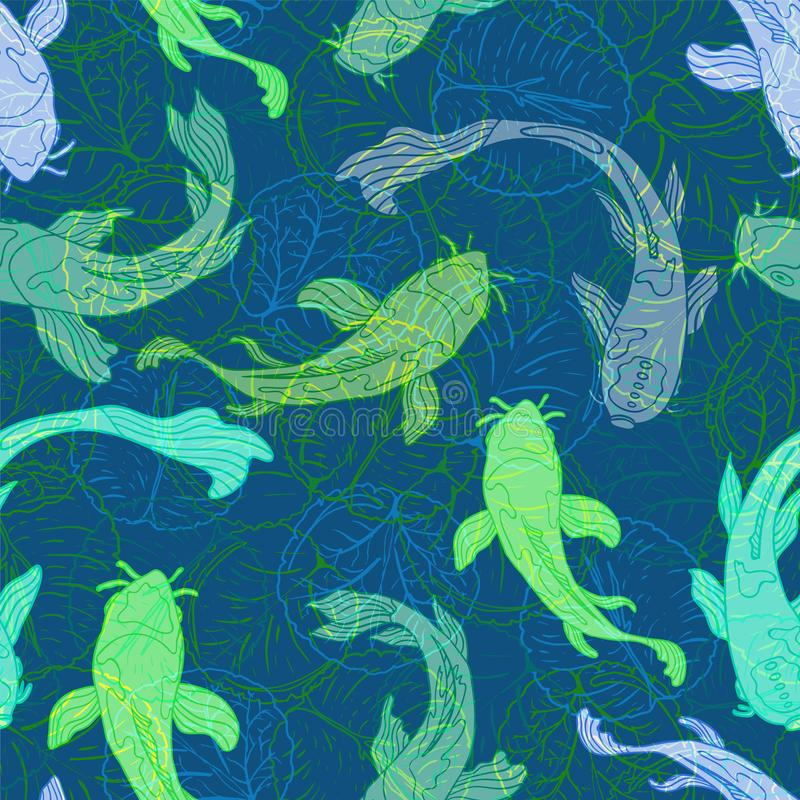 Koi fish or Asian carps swimming among transparent lotus leaves in a modern, graphic style. Seamless pattern. Great for fabric, home decor, stationery, fashion vector illustration