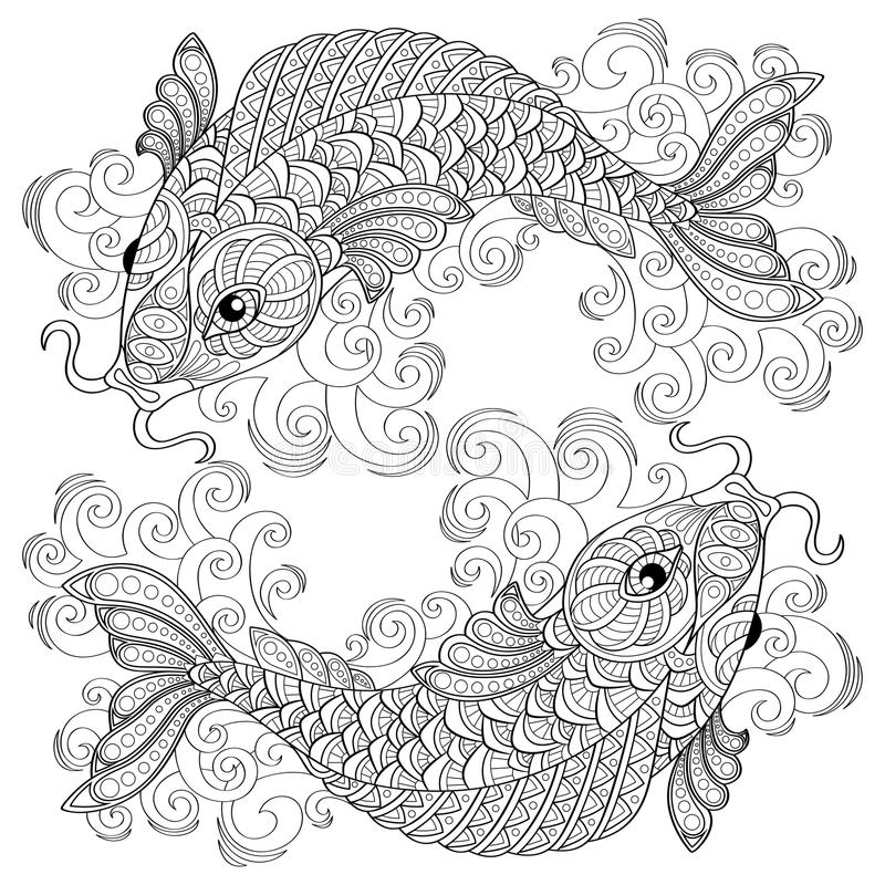 Koi Fish. Chinese Carps. Pisces. Adult Antistress Coloring Page ...