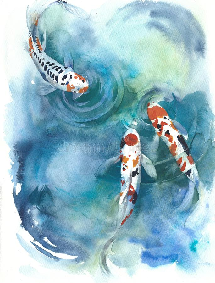 Koi fish Japanese symbol in the pond watercolor painting illustration. Koi fish Japanese symbol in the pond with lilies watercolor painting illustration colorful royalty free illustration