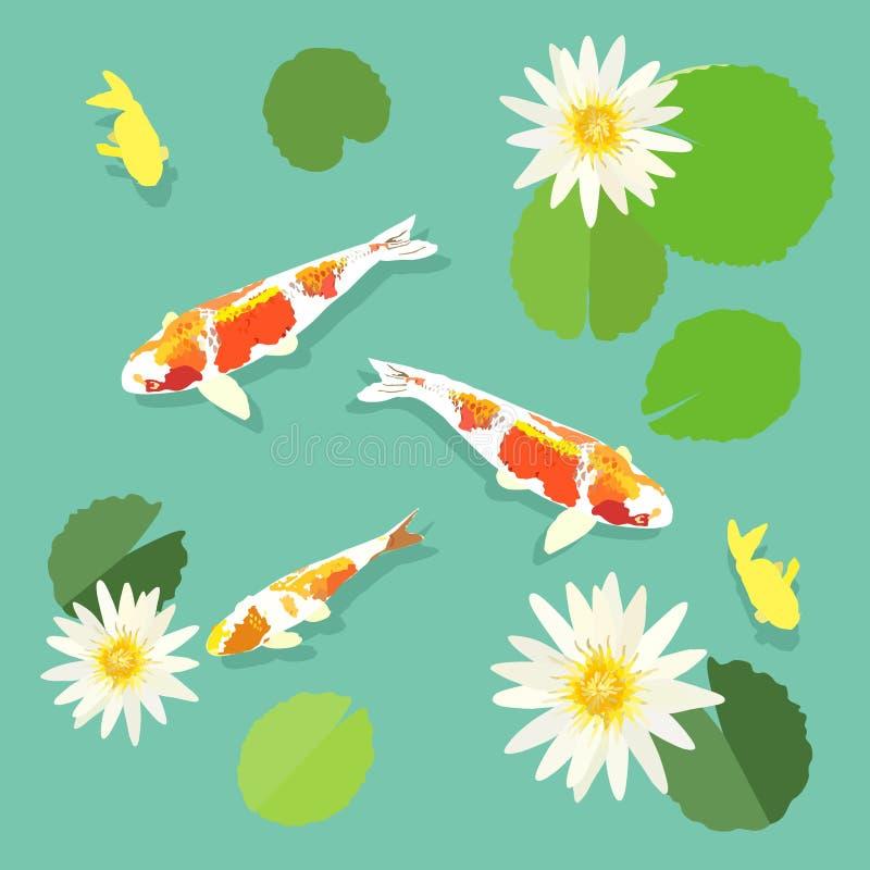 Koi fish and lotus, swimming carp fish, vector, illustration. Koi fish and lotus, swimming carp fish, vector illustration royalty free illustration