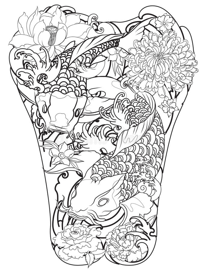 Japanese Tattoo Line Drawing : Koi fish with peony flower and wave tattoo japanese