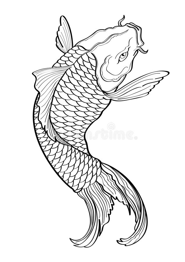 Line Drawing Koi Fish : Koi fish tattoo japanese style lined pattern stock vector