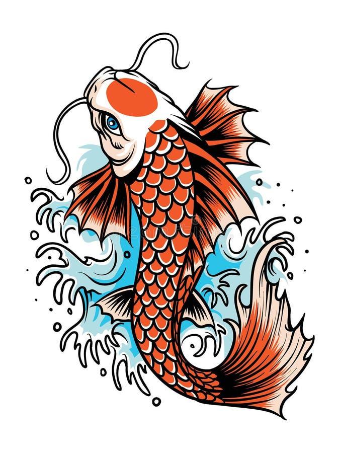 Koi fish tattoo. Vector of koi fish in tattoo style