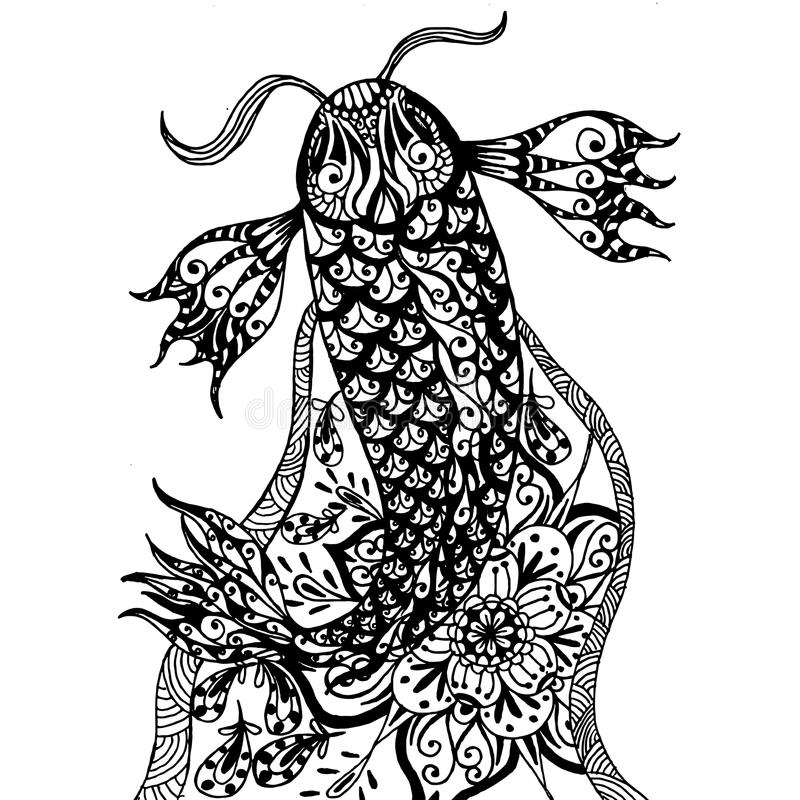 Koi Fish Zentangle image libre de droits