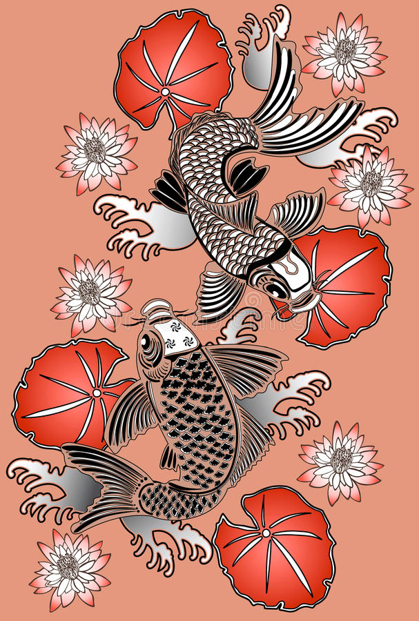 Koi fishes royalty free illustration