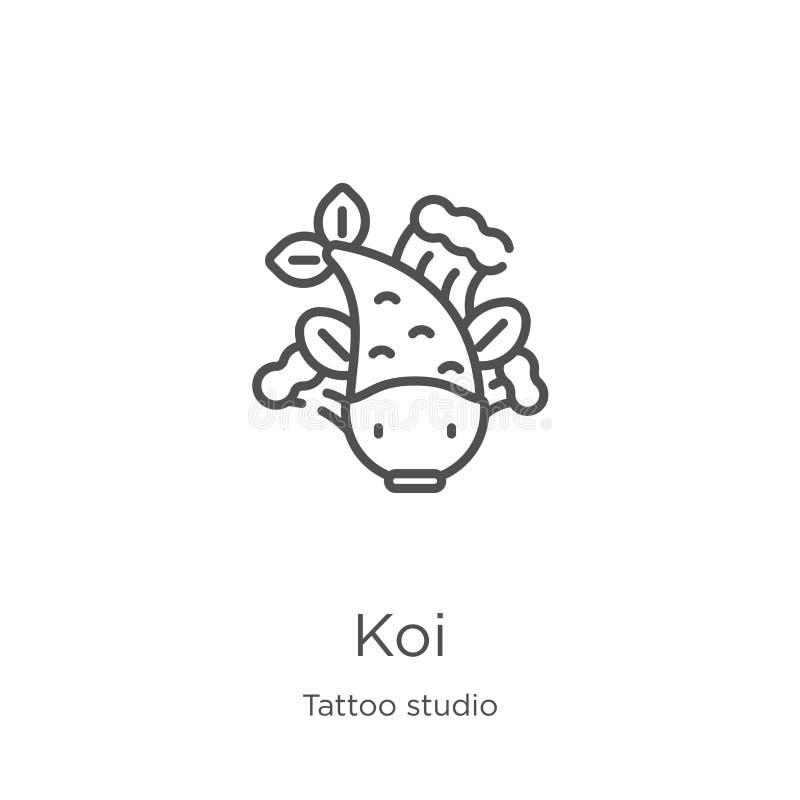koi ikony wektor od tatuażu studia kolekcji Cienka kreskowa koja konturu ikony wektoru ilustracja Kontur, cienieje kreskową koi i royalty ilustracja