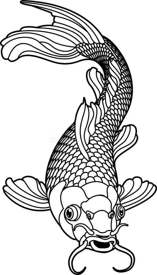 Koi Karpfen-Schwarzweiss-Fische lizenzfreie abbildung